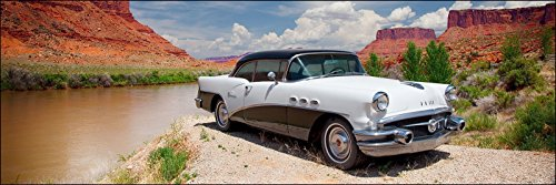 12-x-36-inch-panoramic-photograph-of-classic-white-buick-impala-car-on-the-rivers-shore-with-red-mou