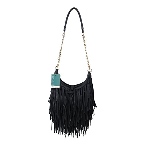 - LUI SUI Women's Fashion Fringed Shoulder Bag Tassel Cross Body Bags (Black)