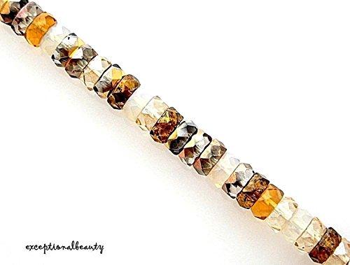 - 60 Honey Butter Assorted Mix Czech Glass 6mm Flat Faceted Rondelle Disc Beads