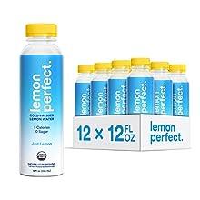 Lemon Perfect, Organic Cold-Pressed Lemon Water, Just Lemon (12-Pack), Full of Flavor, Hydrating Electrolytes, Essential Antioxidants, Zero Sugar, 100% Vitamin C, Keto Certified