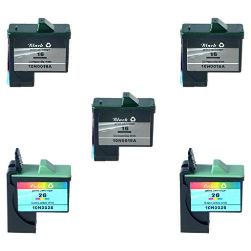 SuperInk 5PK 10N0016 10N0026 Black Color Ink Remanufactured Set For Lexmark #16 #26 Ink Cartridge Combo Pack X1150 X1160 X2250 X2230 Printers,410/275 Pages Yield(3 Black+2 Color)