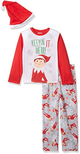 Elf on the Shelf Big Boys' Family Sleep 2-Piece Set Or Footie With Hat, Red, 10