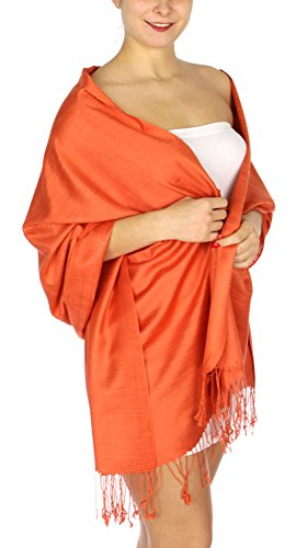 (Pashmina Shawls Wraps, for women, summer wedding scarf, linen touch 14 Sunset)