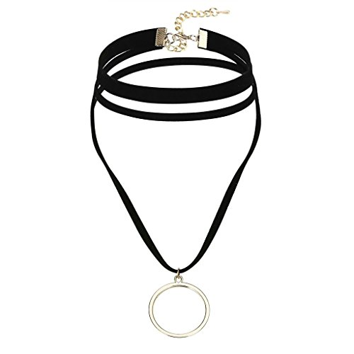 AnaZoz Bijoux Fantaisie Collier Fille Ras du Cou Noir Velours Choker Gothique , Circle 3 Layers Rubanatin Frange , Or