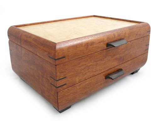 (Modern Artisans Handmade Natural Bubinga and Maple Wood Jewelry Box with Drawer)