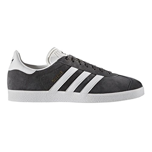 adidas Originals Men's Gazelle Lace-up Sneaker,Dark Grey Heather/White/Metallic/Gold,11 M US