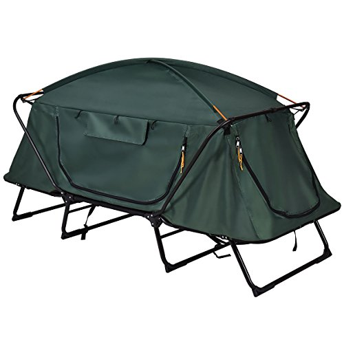 Camping Tent Elevated Green Cot Waterproof Folding 1 Person Sleeping Adventure Winter Bed Rain Fly...