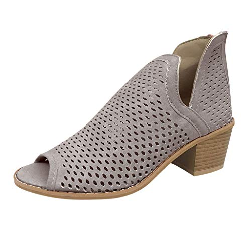 Platform Heeled Sandals for Women,SMALLE◕‿◕ Women's Dress Sandals Ankle Faux Wood Chunky Block Heel Peep Toe Shoes Gray