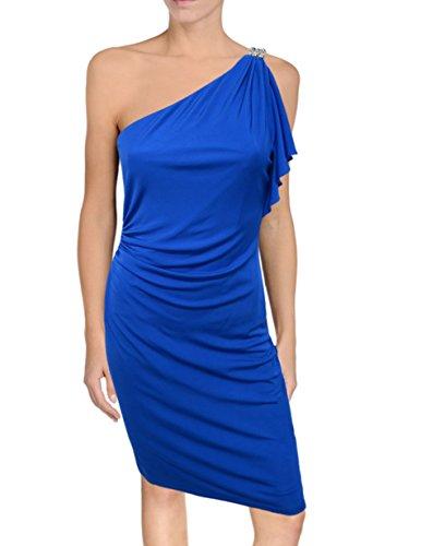 David Meister One Shoulder Evening Dress, Size 4, Cobalt Blue, Crystal Deco