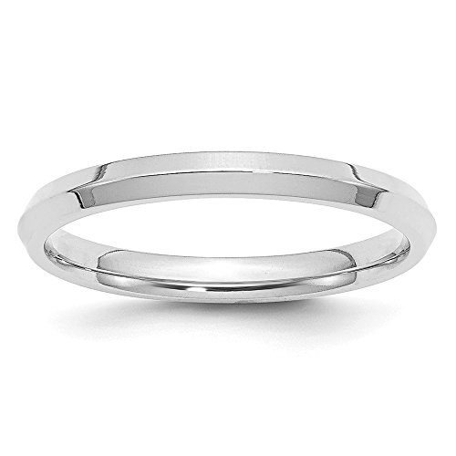14K White Gold 2.5mm Knife Edge Comfort Fit Band Size 10