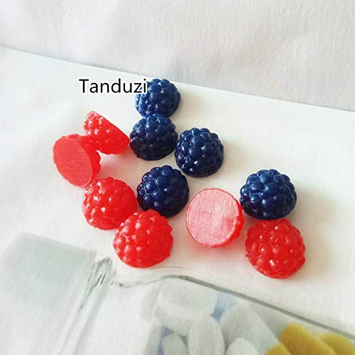 ZAMTAC 50pcs Japanese Kawaii Dollhouse Miniature Simulation Food Fruit Artificial Blueberries Red Mulberry Plastic Crafts DIY - (Color: Mix Color, Size: S)