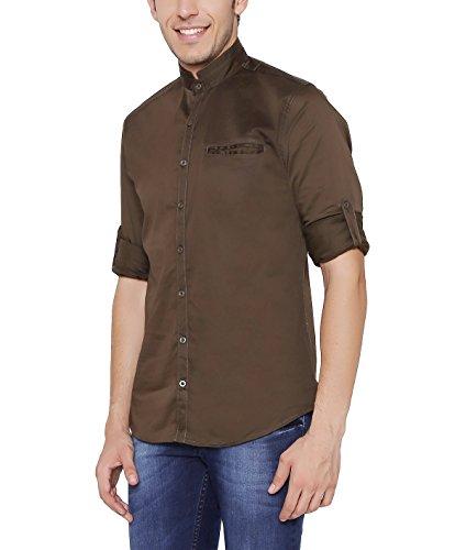 Nick & Jess Herren grün Mao Kragen Baumwolle Lycra Slim Fit Shirt