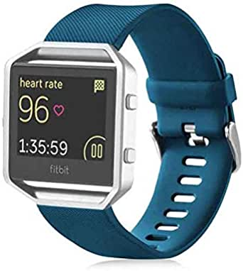 For Fitbit Blaze - Sport Silicone Strap Smart Watch Band Large Size 6.7 inch to 8.1 inch - Dark Blue