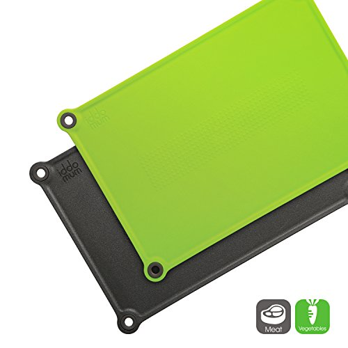 IDDOMUM Plastic Cutting Board (2-Piece Set) for Kitchen, BPA Free, Double-Side Design, Dishwasher safe with Non-Slip Feet and Non-Spill Edges by iddomum