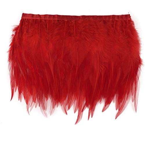 Shekyeon 10yards/lot Rooster Hackle Feather Trim Costume Dress Decoration DIY Craft Feather(Red)