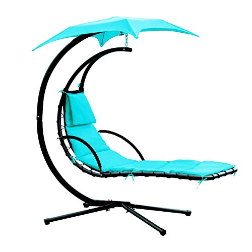Yontree Hanging Chaise Sun Lounger Chair Air Porch Hammock Swing Chair Stand 265LBS Capacity Lake Blue