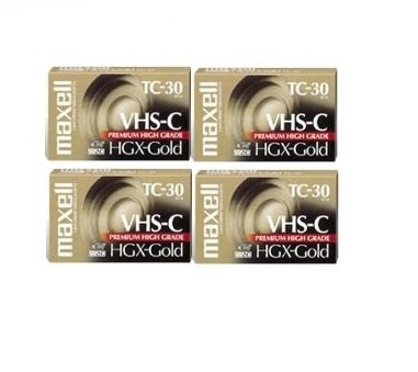 Maxell VHS-C TC-30 HGX Gold Blank Cassettes - Pack of 4 Cassettes by Maxell
