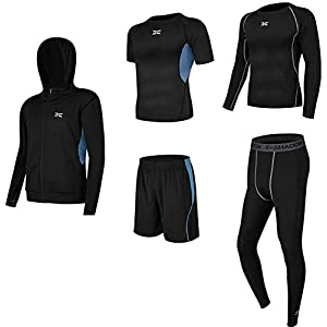 Be There コンプレッションウェア 5点 上下 セット スポーツウェア メンズ 長袖 半袖 オールシーズン対応 トレーニング ランニング 吸汗 速乾 加圧 防臭 姿勢矯正 (黒, L)