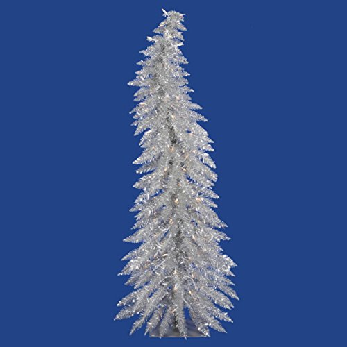Vickerman Colorful Whimsical Silver Christmas Tree with 70 Clear Mini Lights, 4-Feet