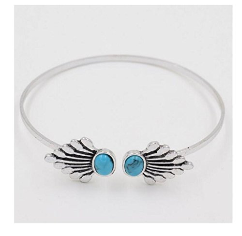 Yuriao Jewelry Novel Fashion Alloy Feather Stone Bracelet(sliver)