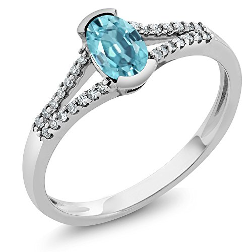 Gem Stone King 0.75 Ct Oval Blue Zircon and Diamond 10K White Gold Ring (Size 5)