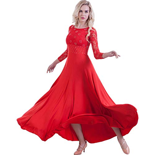 ZooBoo PromBallroom Dance Dress - Dancing Waltz Tango Party Latin Swing Dancewear Skirt Dress for Women (Red, S) (Waltz Dress Dance)
