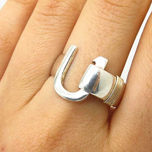 VTG Signed 925 Sterling Silver/Gold 14K Caribbean Hook Design Ring Size 10 Jewelry by Wholesale Charms (14k Gold Caribbean Hook)