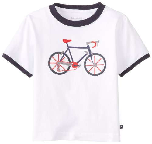 Kitestrings Little Boys' Toddler Bicycle Short Sleeve Tee Shirt, White, 2T