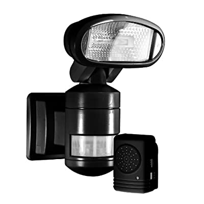 NightWatcher Robotic Security Light with Alarm-Halogen (Black)