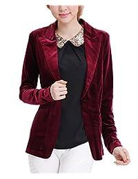 MFrannie One Button Velvet Blazer Notched Lapels Stretchy Office Work Jacket