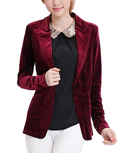 Womens Blazer Velvet (MFrannie One Button Velvet Blazer Notched Lapels Stretchy Office Work Jacket Maroon M)