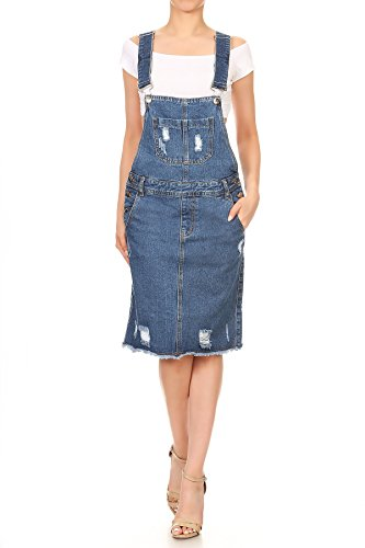 90s Inspired Costumes (Anna-Kaci Womens Distressed Denim Adjustable Strap Overall Dress with Frayed Hem, Blue, Large)