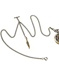 ManChDa Double Albert Chain Pocket Watch, Curb Link Chain 3 Hook Antique Plating Shield Design Fob T Bar for Men Bass with Leaf