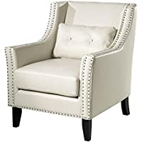 TOV Furniture The Midtown Collection Modern Leather Upholstered Wood Living Room Accent Club Chair, Cream