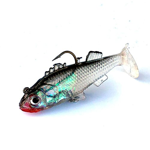 Spbamboo Fishing 5Pcs/Lot Lures Tackle 8.5cm 25g 3D Eyes Artificial Soft Plastic Minnow Fishing Lures, Bream Bait With Carbon Steel Treble Tackle Hooks For Kinds Of Minnow Fish Bass For Fisher Gift ()