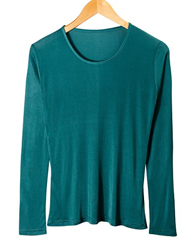 - XZ-Rain Women's 100% Pure Mulberry Silk T-Shirts Long Sleeve Undershirt (Green, XL)