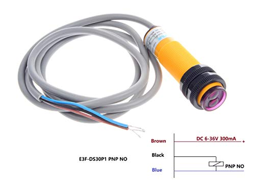 (NOYITO E3F-DS30P1 Diffuse Reflection Infrared Obstacle Avoidance Sensor Induction Distance 0-30cm Adjustable 6-36V Proximity Switch Proximity Sensors - PNP NO)