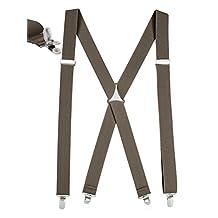 "Mens Elastic X Back No Slip ""Pin Clip"" Straight Clip Suspenders - Olive (Tall, 54"" Long)"
