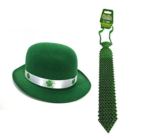Luck of the Irish St. Patrick's Day Kelly Green Derby Bowler Hat With Shamrock Ribbon & St. Patrick Green Plastic Beaded Neckties SET
