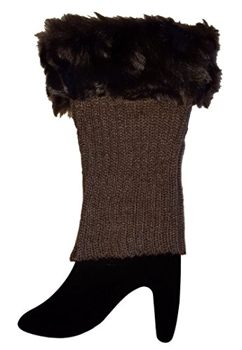 Faux Fur Trimmed Knit Short Leg Warmers / Boot Socks Topper Cuffs (Beaded Thigh High Stockings)