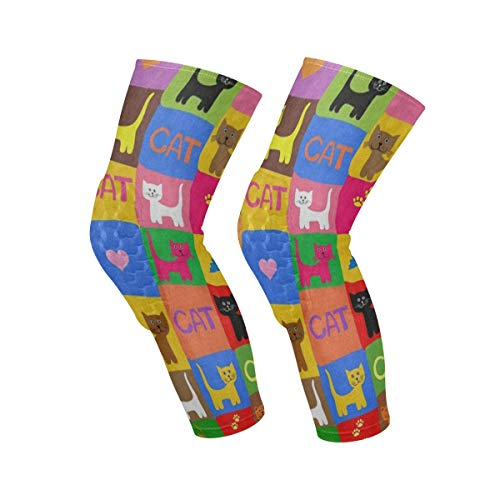 Knee Sleeve Colorful Cat Heart Paw Print Full Leg Brace Compression Long Sleeves Pant Socks for Running, Jogging, Sports, Crossfit, Basketball, Joint Pain Relief, Men and Women 1 Pair