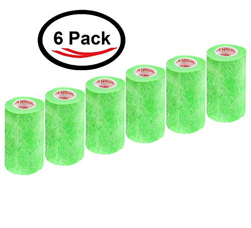 (3 Inch Self Adhesive Medical Bandage Wrap Tape (Neon Green) (6 Pack) Strong Elastic Self Adherent Cohesive First Aid Sport Flex Rolls for Wrist Ankle Knee Sprains and Swelling )