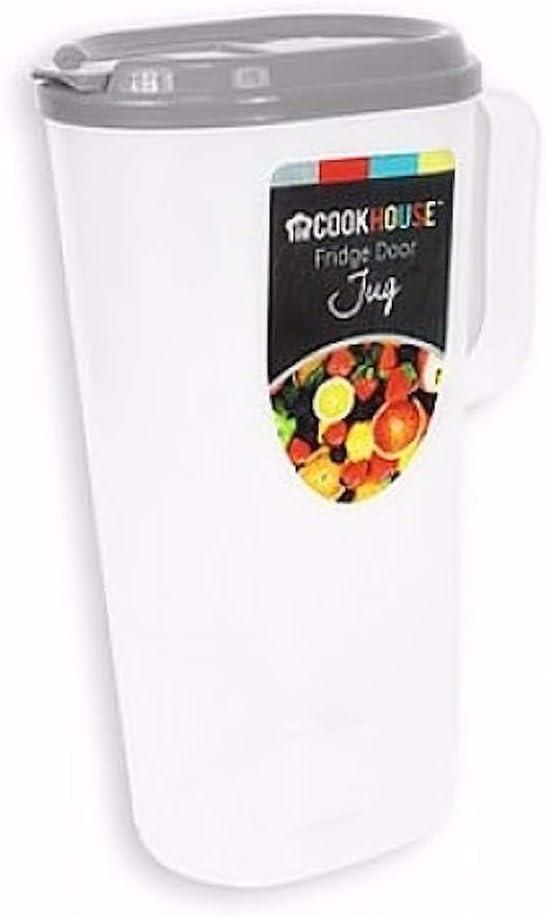 White Slim Fridge Door Plastic 1.8Lt Picnic Water Juice Breakfast Jug Pitcher with Lid