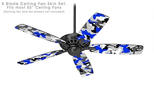Sexy Girl Silhouette Camo Blue - Ceiling Fan Skin Kit fits most 52 inch fans (FAN and BLADES NOT INCLUDED)
