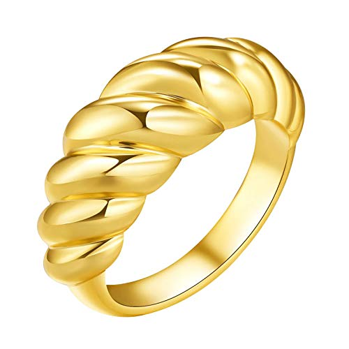 TONGHANG Croissant Dome Ring for Women, 18k Gold Plated Stacking Band Women Jewelry Minimalist Ring, Chunky Ring Stacking Band Statement Rings