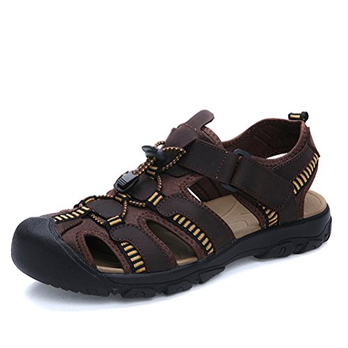HUAN Sports Size Shoes Casual for Men's Summer Leather Baotou C Color Brown 2018 Green Beach Shoes Shoes 42 Large Men's Sandals Size Breathable Outdoor Coffee a0rqU6a