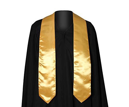 GraduationService Unisex Plain Graduation Stole For Adult,Gold,One -
