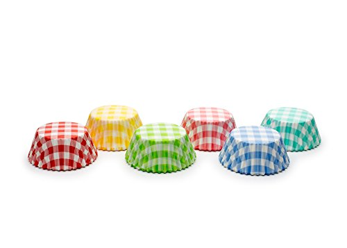 Fox Run 8015 Gingham Bake Cup Set, Standard, 300-Count, (Blue Gingham Mini)