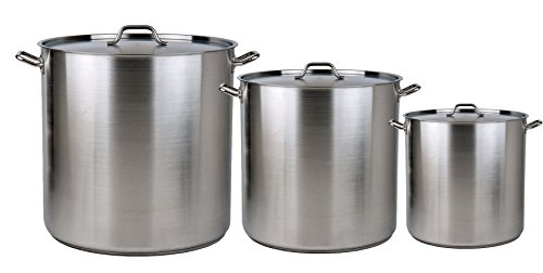 Bioexcel Best Quality Set of 3, 4 and 5 Aluminium Stock Pots with Steamer Rack & Lid Cover - 8/12/16/20/24/32/40/52/64/80/100 Quarts - Set of 3 includes 64/80/100 by Bioexcel