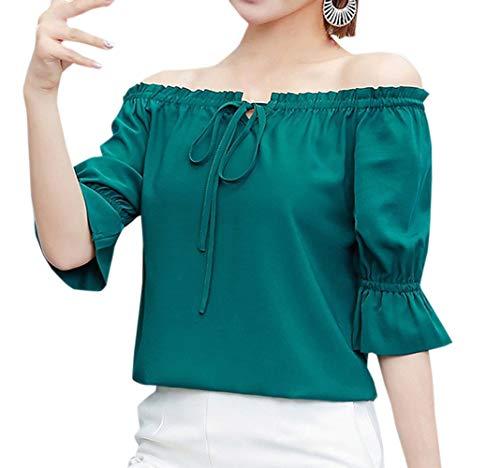 Simple-Fashion Estivo Tops Donne Casual Tinta Unita Chiffon Camicie T-Shirts Giovane Moda Scollo a Barca Mezza Manica Bluse Maglietta Verde Scuro